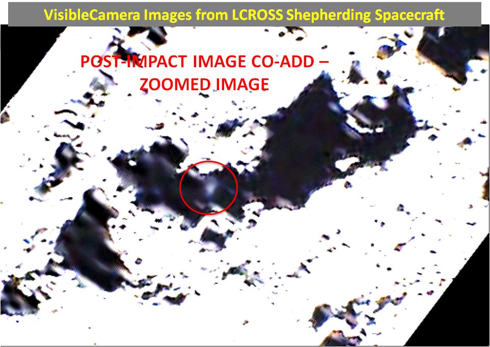 Aufnahme der Wolke von Auswurfmaterial 15 Sekunden nach dem Centaur-Einschlag, Quelle: NASA/ARC