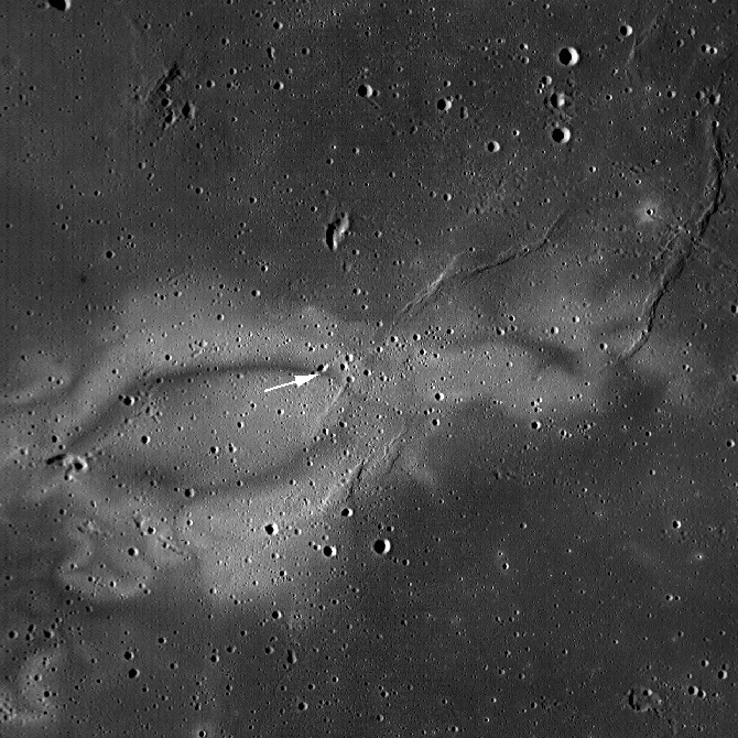 WAC monochrome context image of the Reiner Gamma swirl.