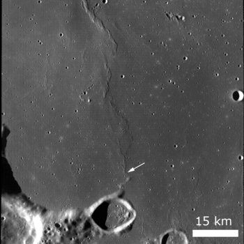 Arrow points at the portion of wrinkle ridge visible