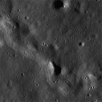 Exposed boulders are clustered on the moon's wrinkle ridge