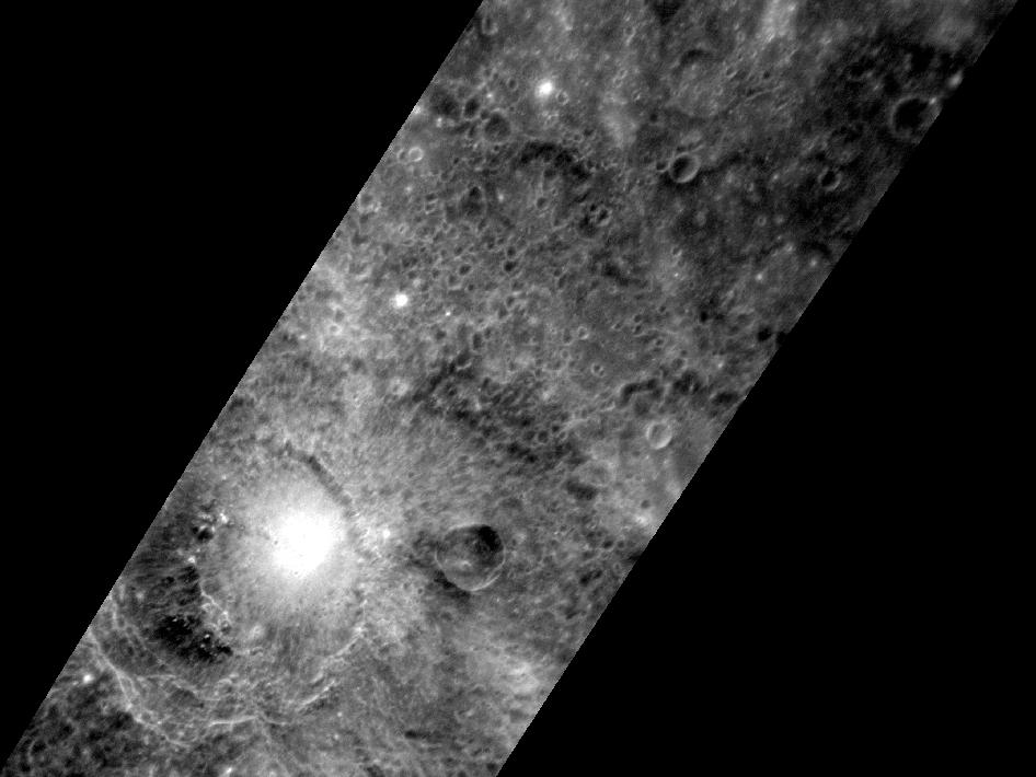Image from Orbit of Mercury: Bright and Dark Craters