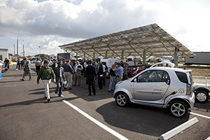 Part of the parking lot at the Propellants North facility was tailor-made for electric cars. The covered area features plug-in stations for electric vehicles. Photo credit: NASA/Frank Michaux