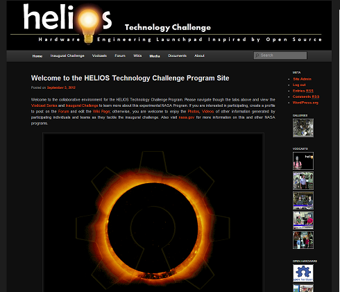 Graphic shows HELIOS blog front page