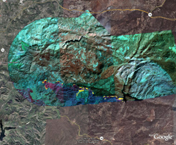 Images of the Harris fire taken from the NASA Ikhana Mission on Oct. 24, 2007.