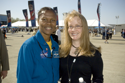 Shana Dale with Astronaut Yvonne Cagle at the opening of the Ames Yuri's Night Event.  Photo Credit: NASA Ames Research Center / John Schultz
