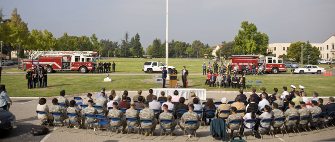 Ames remembered the tragic events of Sept .11, 2001 during an emotional ceremony held seven years to the day the tragedy occurred.