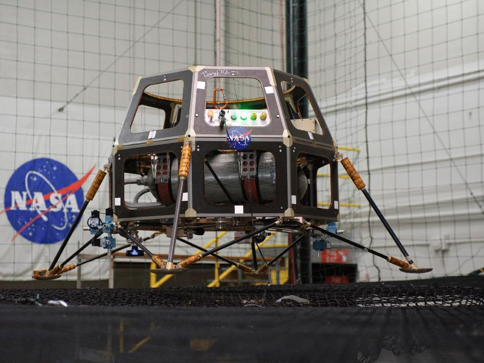 Hover Test Vehicle being readied for ground tests at NASA Ames Research Center (note: Buzz Aldrin autograph at the top of the structure)