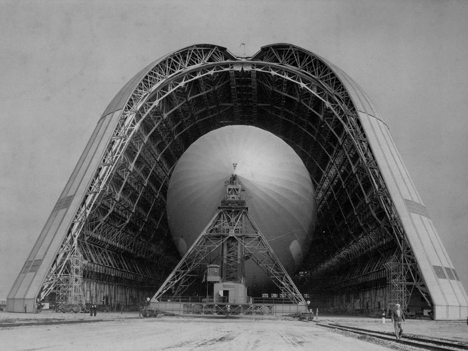 Blimp inside Hangar One.