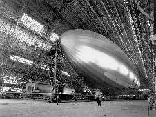 Blimp inside Hangar One