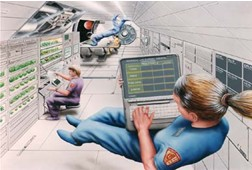 Artists conception of Mars transit vehicle interior.