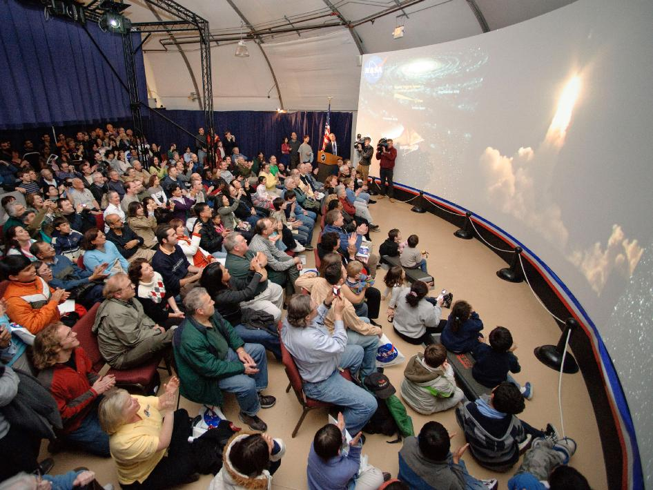 An excited crowd of space enthusiasts watched the launch of the Delta II carrying Kepler spacecraft into space.