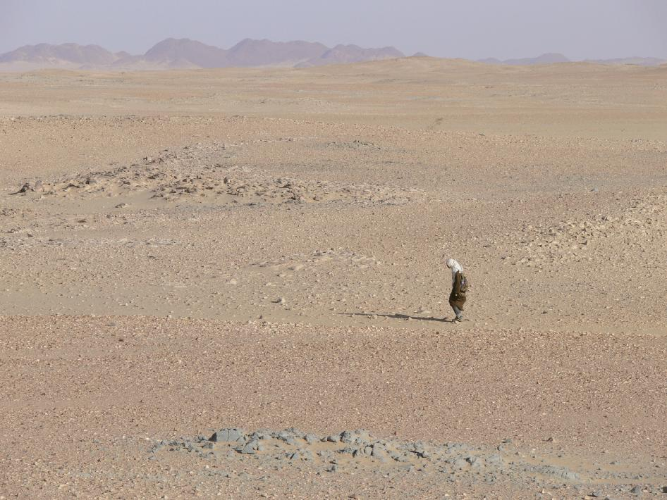 A student from the University of Khartoum, Sudan searches the desert terrain for meteorites.