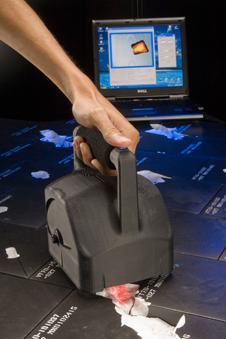 The scanner is used in a Mold Impression Laser Tool (MLT), a hand-held instrument used to scan space shuttle tiles to detect and measure the amount of any damage.