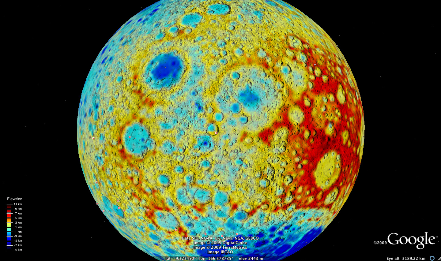 NASA NASA And Google Launch Virtual Exploration Of The Moon - Us elevation map google