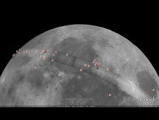 Global view of Google Moon 3D showing a variety of placemarks containing high-resolution orbital and surface images, historic maps, human artifacts landed on the Moon, and guided tours.