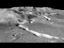 View of the Apollo 15 landing site showing Hadley Rille, Hadley C crater, and the Appenine Mountains. The 3D terrain model and high-resolution imagery (10 m/pixel) were provided by the NASA Lunar Mapping and Modeling Project using new digital scans of the Apollo 15 Metric Camera.
