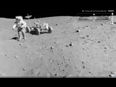 Panorama from Apollo 15 showing Astronaut David R. Scott in front of the Lunar Roving Vehicle during the mission's third extravehicular activity (EVA-3).
