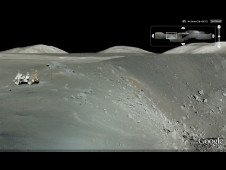 Panorama from Apollo 17 at Shorty Crater. Astronaut and geologist Harrison H. Schmitt is shown next to the Lunar Roving Vehicle at the spot where he discovered orange volcanic soil.