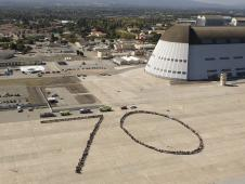 NASA Ames' employees in the shape of a 70.