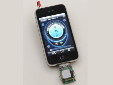 The chemical sensing prototype plugged into an iPhone - Photo credit: Dominic Hart/NASA