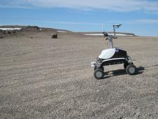 K10 Black conducting a ground-penetrating radar survey at Haughton Crater, Devon Island, Canada.