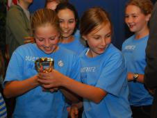 The Ductbotz team from Los Altos, Calif. was pleased to see their trophy that they won for first place in teamwork.