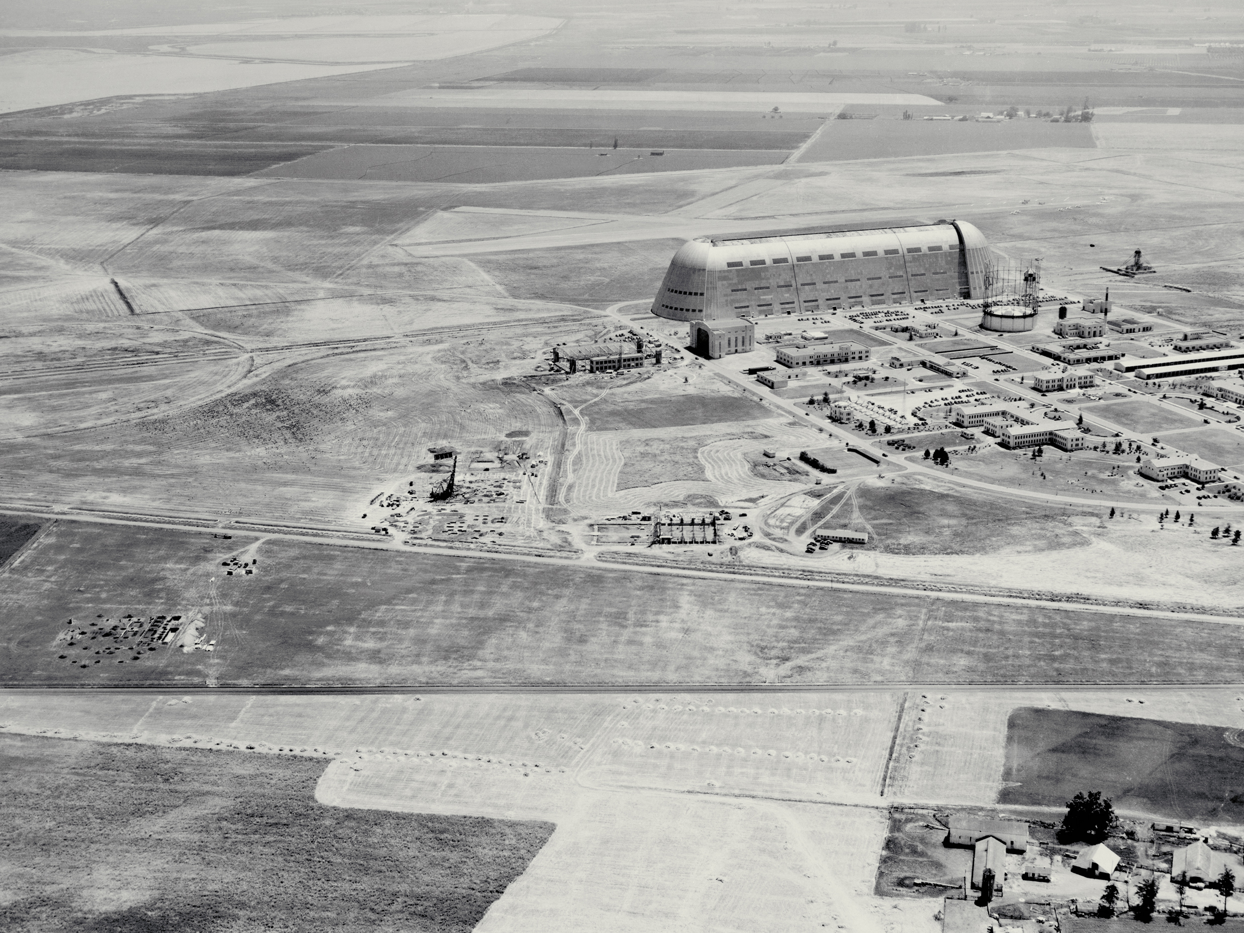 Photo taken in 1940 showing the construction progress of Ames Research Center