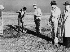 Russell Robinson Supervising the first excavation at the Ames Aeronautical Laboratory ground breaking on Dec. 20, 1939.