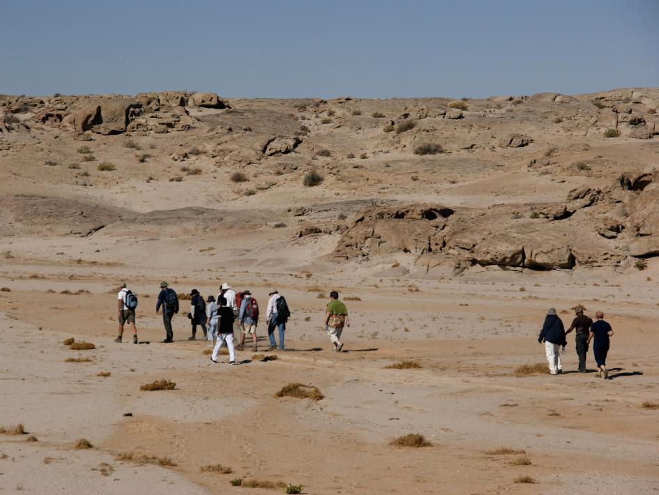 Image of teachers walking through Namibia.