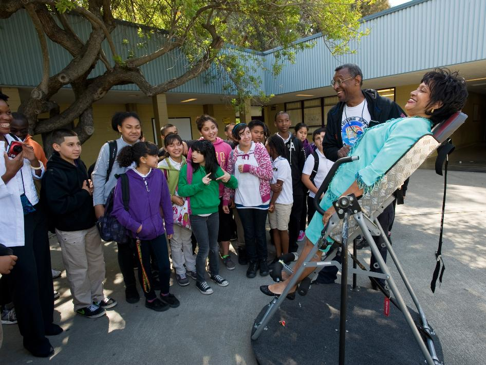Cheryl McNair visited students of the Ronald McNair Academy in East Palo Alto, Calif. The middle school was named after her late husband Ronald McNair, one of the seven crew members who lost their lives on the Challenger Shuttle on Jan. 28, 1986. In collaboration with the Traveling Space Museum NASA's Ames Research Center sponsored 'Space Day' at five underrepresented schools in the Bay Area.