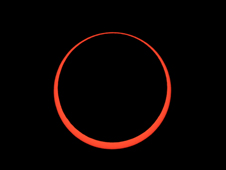 "The eclipse at annularity. The Moon is too small to cover the entire Sun's disk so a ring or ""annulus"" of bright sunlight surrounds the Moon."