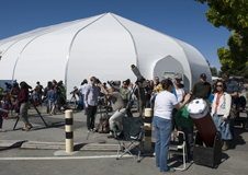 Telescopes with solar filters set up at the NASA Ames visitor center.