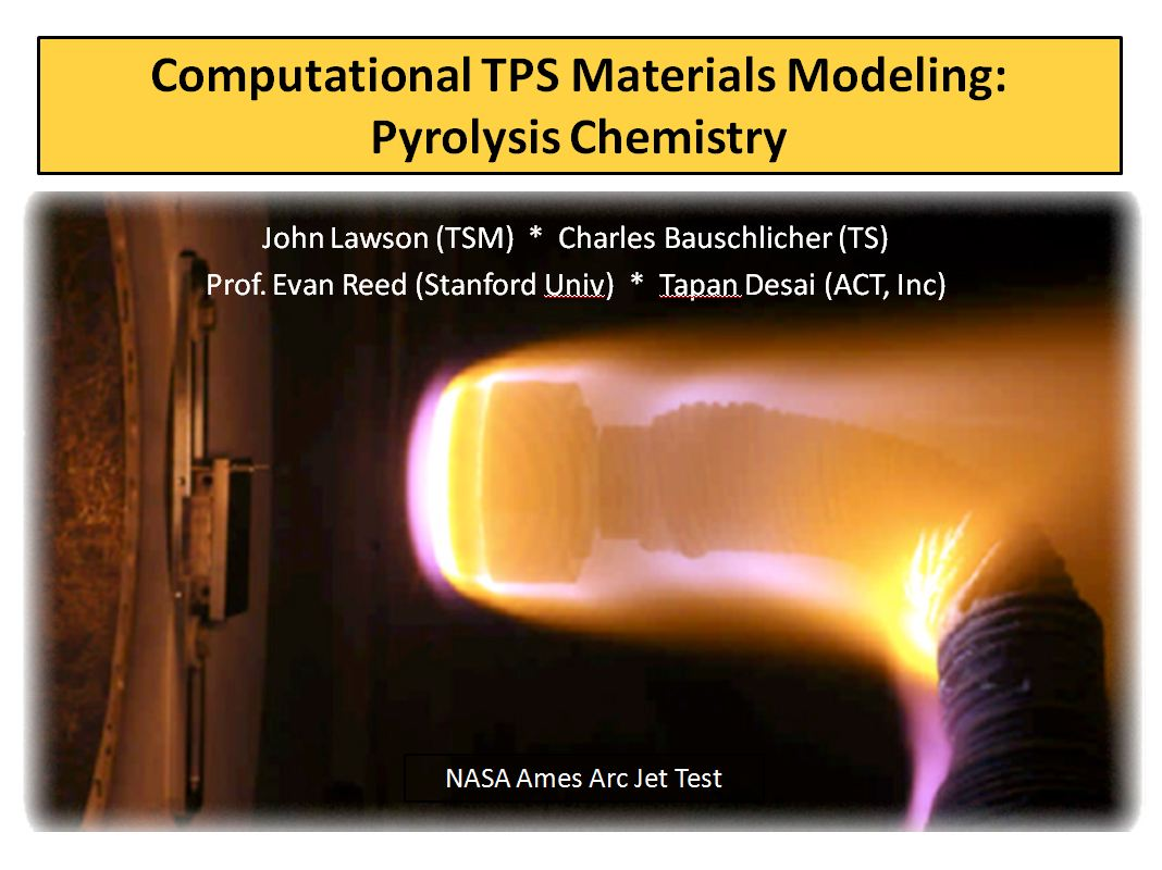 First Presentation Slide from Computational TPS Materials Modeling: Pyrolysis Chemistry presentation