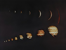 A composite image of Jupiter increasing and then decreasing in size taken by Pioneer 10 in 1973 as it approached and then departed from the planet.