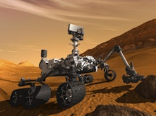 The MSL Curiosity rover on the Martian surface.