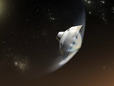 An artist's conception of MSL entering the Martian atmosphere.