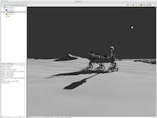 Screenshot of a 3D simulation of Curiosity from the Antares software.