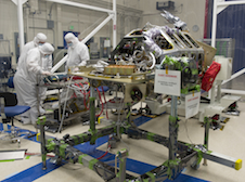 Engineers test an electrical interface on LADEE.