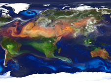 The atmospheric winds near the surface (white) and at mid- to upper-levels (colored) that transport and disperse global aerosols within the GEOS-5 atmospheric model.