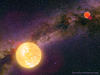 The widest binaries and triple systems have very elongated orbits, so the stars spend most of their time far apart. But once in every orbital revolution they are at their closest approach, as depicted in this artist's impression by Karen Teramura with background photograph by Wei-Hao Wang