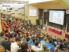 Students gathered at MIT on Friday, Jan 11, 2013, to watch live as the Zero Robotics completion took place aboard the International Space Station. (NASA)