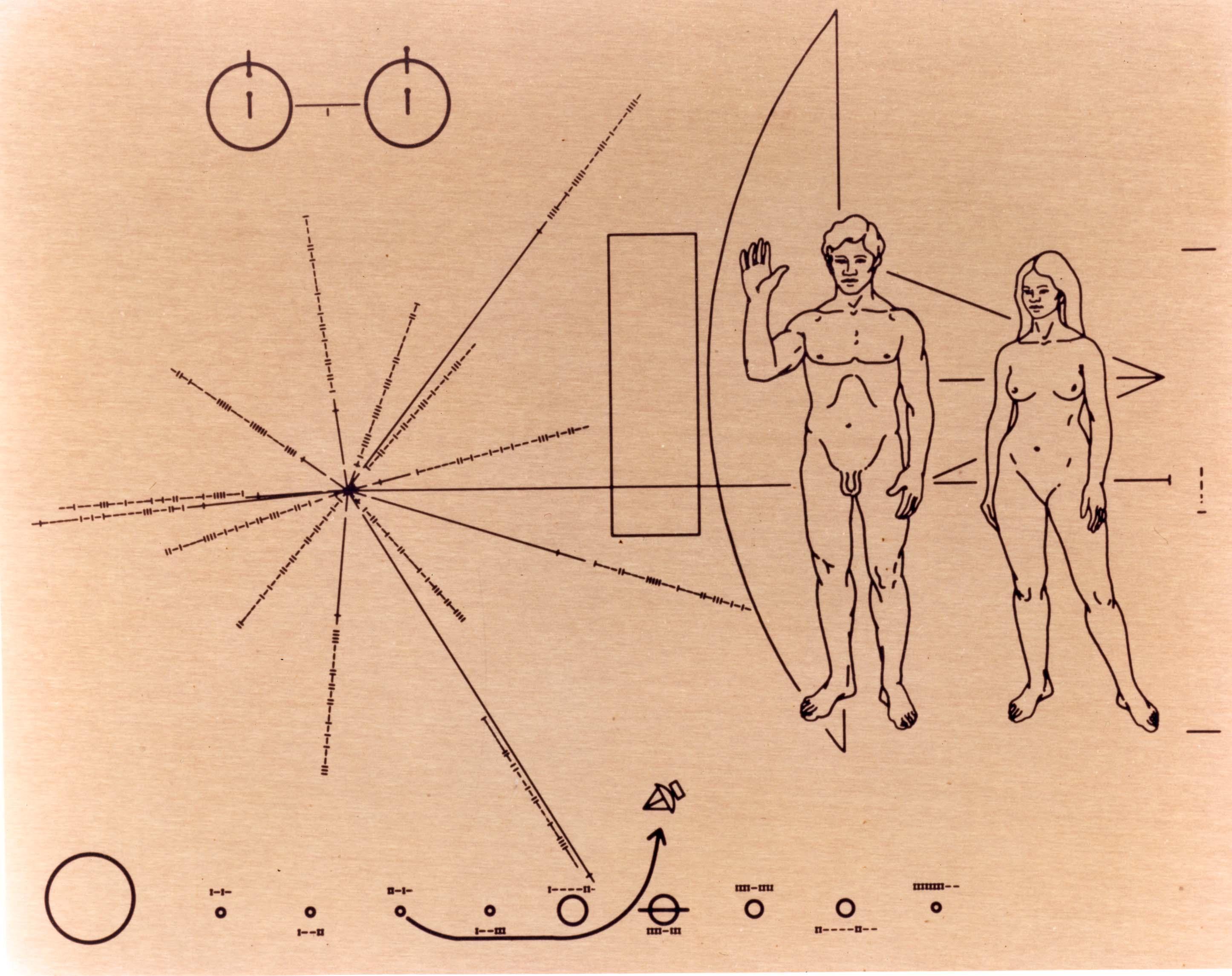 Plakette an der Raumsonde Pioneer