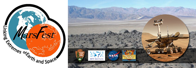 A banner showing the Marsfest logo, a photo of Death Valley, an inset of the Curiosity Rover and logos of involved organizations.