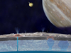 This illustration of Europa (foreground), Jupiter (right) and Io (middle) is an artist's concept.
