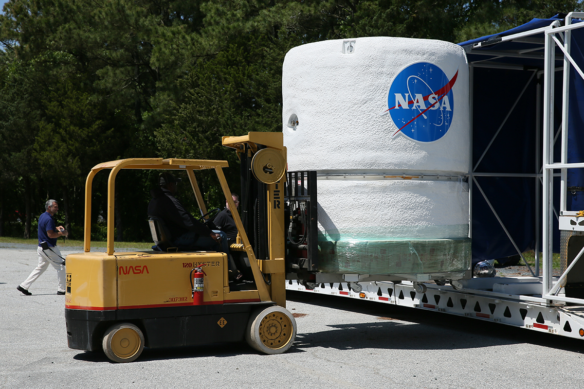 The NASA Lunar Atmosphere and Dust Environment Explorer (LADEE) arrives at NASA Wallops to begin final processing for its trip to the Moon later this year.