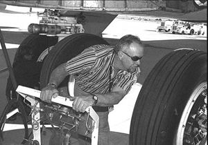 Ken Wilson, right, and Pat Lloyd inspect the NB-52B's tires to make sure the aircraft will be ready to roll when it's time for a mission.