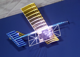Model plane powered by a laser beam