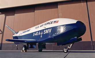 X-40A in front of the hangar