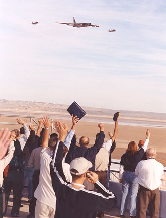 Dryden employees welcome the NB-52B back to Dryden in November after its successful X-43A airlaunch, the final mission of its nearly 50-year career.