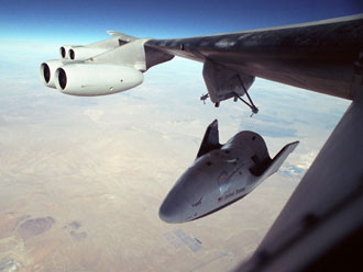 The NB-52B was used in the successful 2001 airlaunch of the X-38 Crew Return Vehicle prototype. By using a parafoil (guided parachute), the X-38 program tested the concept of making short precision landings with lifting body-shaped aircraft.